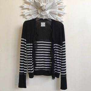 Poof Excellence striped ruffle cardigan NWOT L